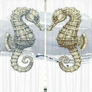 Curtains Seahorse Pair Grunge Print Backdrop 20921